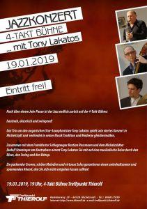 Jazzkonzert – Tony Laktos Trio @ 4-Taktbühne des Autohauses Thierolf, Hammerweg 29
