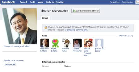 Thaksin se lance sur Facebook et Twitter