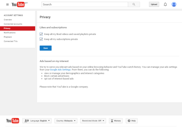 Mengekalkan privasi dalam youtube
