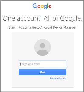 Login ke android device manager untuk mengesan lokasi handphone hilang
