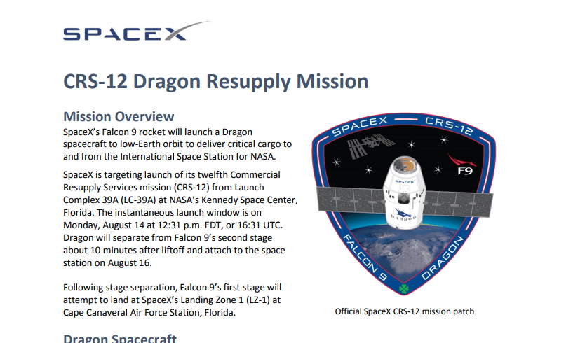 PDF. Falcon 9 - CRS12 Launch Press Kit