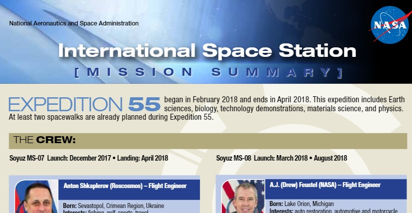 PDF+Vídeo. ISS - Expedition 55 Press Kit