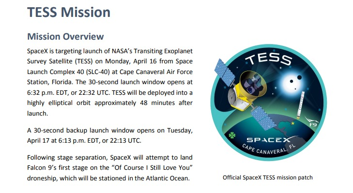 PDF. Falcon 9 - TESS Launch Press Kit