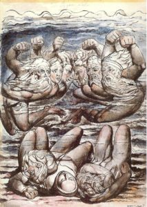 La lucha del iracundo, William Blake, 1823. Uno de los 7 pecados capitales. Disponible en dominio público en http://j.mp/2ep6LdY