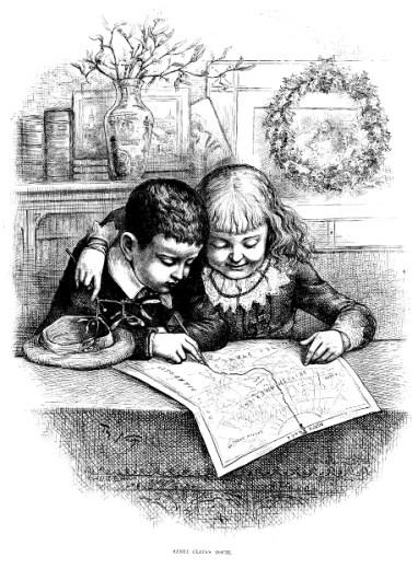 """Nast, Thomas (1885) """"Santa Claus's Route"""". Grabado."""