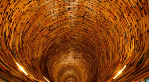 The Prague library's tunnel of books