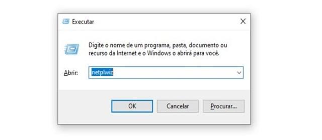 Windows + R para habilitar login sem senha