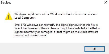 Corrigir Erro 577 do windows defender