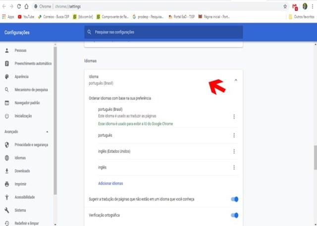 Configuração para alterar idioma do Chrome.