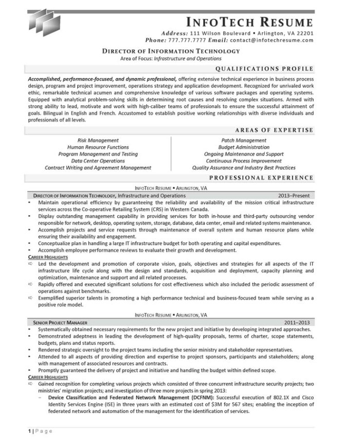 director-of-information-technology-sample-resume_Page_1 Director Of Information Technology Resume Modern on