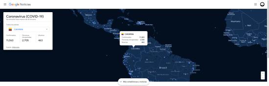 Mapa del Coronavirus (COVID-19). Imagen: Google
