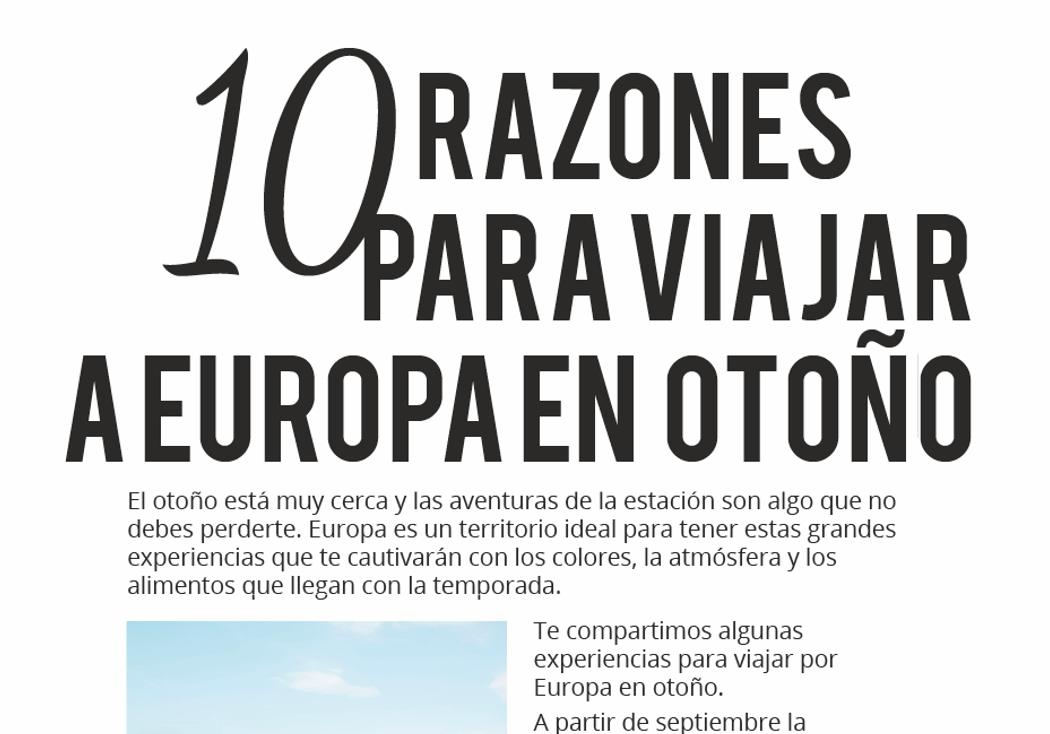 10 razones para viajar a Europa en otoño