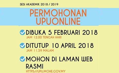 Tarikh Penting Permohonan UPU Online 2018