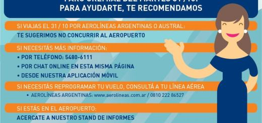 Paro total Aerolineas Argentinas 30 y 31/10/2017