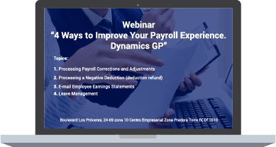 Webinar 4 ways to improve your payroll experience. Dynamics GP 11 de julio