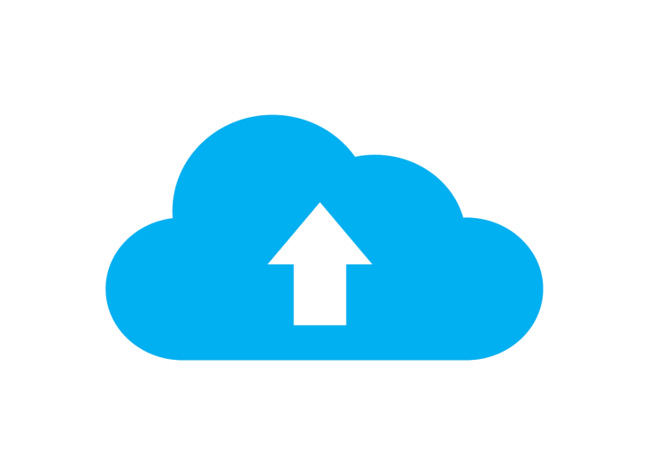 A blue and white photo of cloud storage, which indicates a storage solution for data