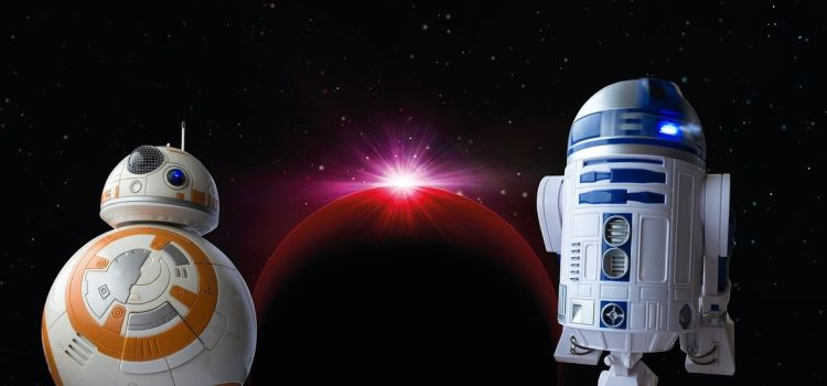 Color photo of BB8 and R2D2 droids