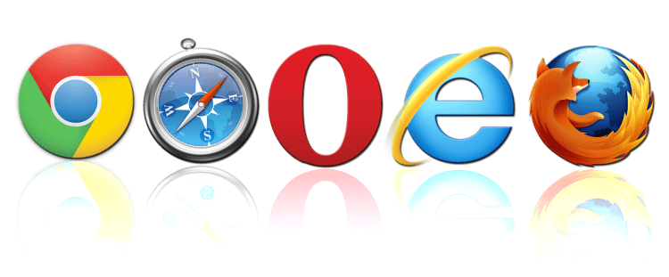 Color photo of five most known browser logos: Chrome, Safari, Opera, IE and Mozilla Firefox.