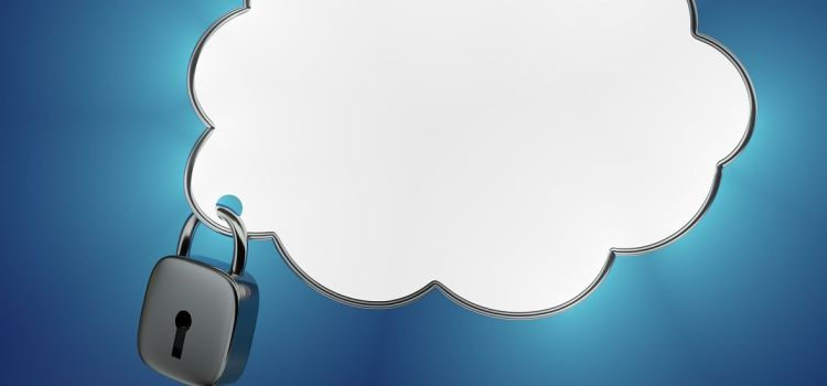 Color photo of a white cloud with lock aside, on a blue background
