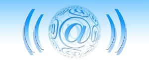Color photo of at (@) symbol in the circle, used to illustrate the meaning of email on the world.
