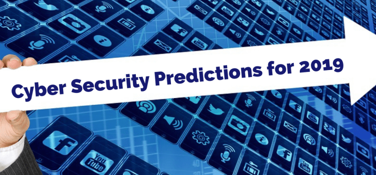 Color photo of background icons with white arrow in front pointing right with inscription ''Cyber Security Predictions for 2019''