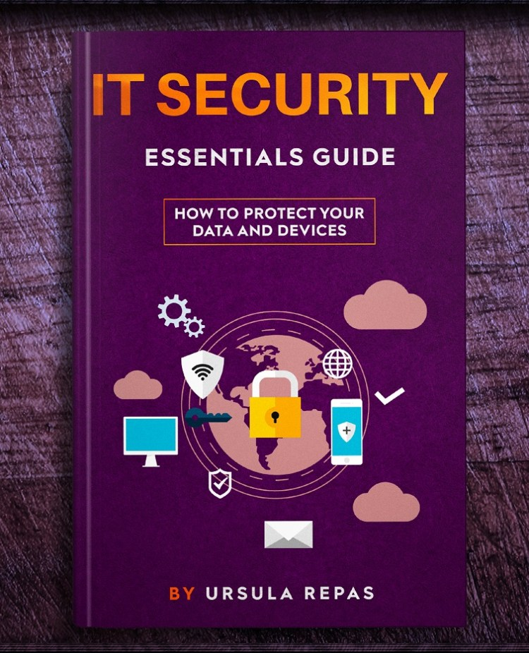 3D color photo of the IT Security Essentials Guide ebook cover.