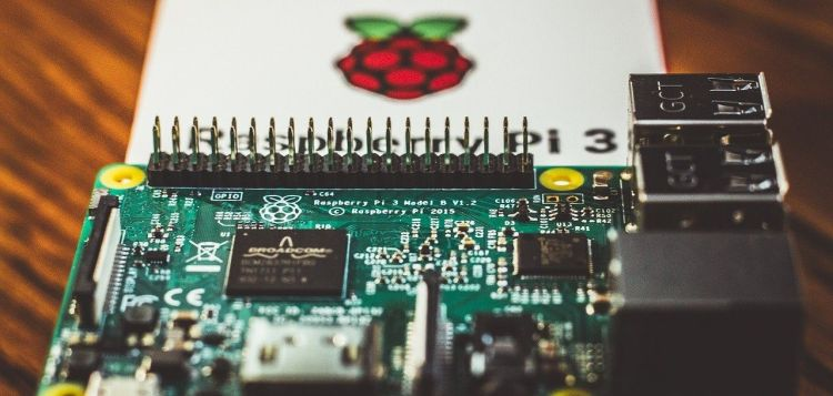 Color photo of a Raspberry Pi 3 computer, used to illustrate the appearance of it.
