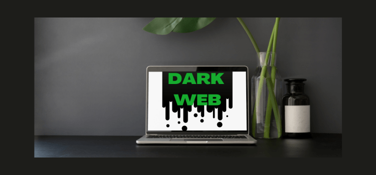 "Color photo of a laptop with the inscription ""Dark Web""."