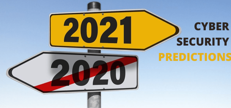 Color photo of a signpost, pointing to an inscription: 2021 Cybersecurity predictions.