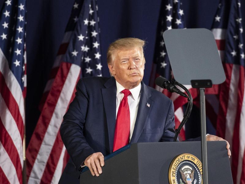 Trump hat eine Rede zum Unabhängigkeitstag für eine düstere, polarisierende Botschaft genutzt. Foto: Alex Brandon/AP/dpa