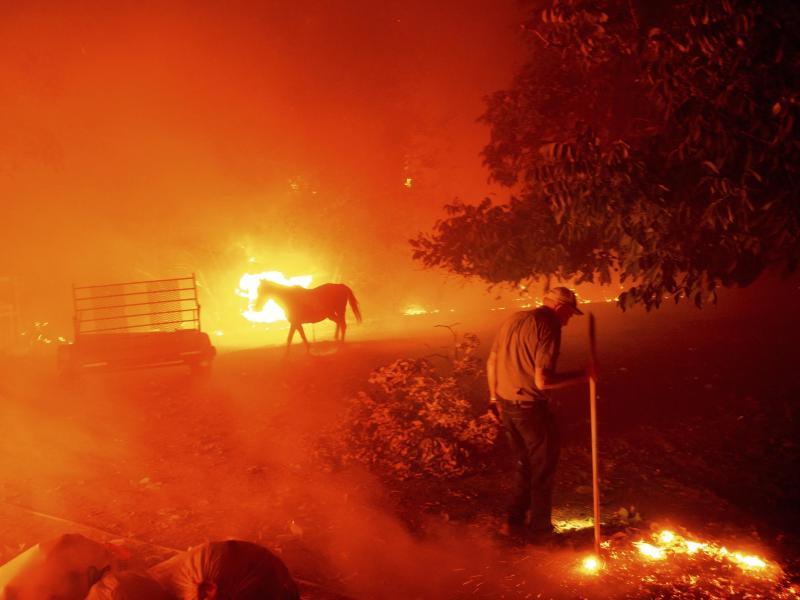 Der 84-Jährige Bill Nichols versucht sein Haus vor den Flammen zu retten. In Kalifornien kämpfen mehr als 10.000 Feuerwehrleute gegen zwei Dutzend Großbrände an. Foto: Noah Berger/AP/dpa