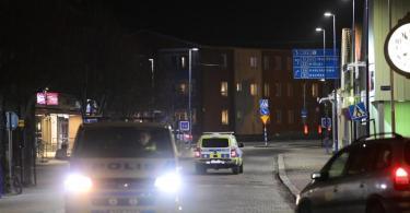 Polizeiwagen stehen in der Nähe eines abgesperrten Bereichs nach dem Angriff auf mehrere Menschen in Vetlanda. Foto: Mikael Fritzon/TT NEWS AGENCY/AP/dpa