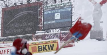 Die Rennen in der Abfahrt in Lenzerheide wurden wegen schlechten Wetters abgesagt. Foto: Gabriele Facciotti/AP/dpa