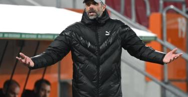 Konnte dank entsprechender Vertragsklausel Gladbach Richtung BVB verlassen: Trainer Marco Rose. Foto: Matthias Balk/dpa