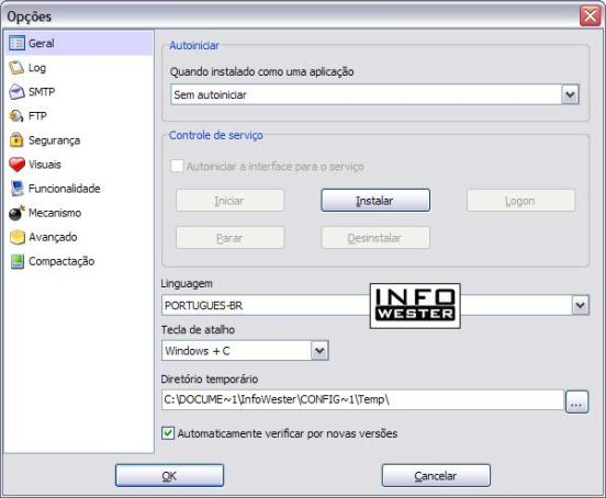 Opções de configuração do Cobian Backup