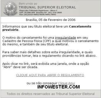 E-mail falso em nome do Tribunal Superior Eleitoral