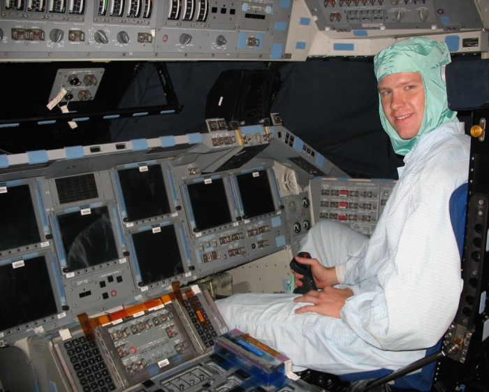 Me in the pilot's couch of OV-105, Space Shuttle Endeavour.