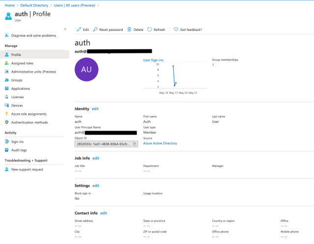 Body 9: Develop a user within Azure AD