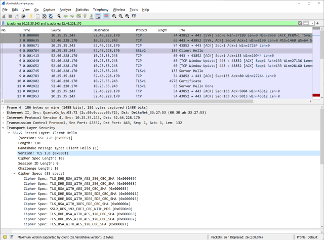 Figure 2: After the conversation filter has been applied, select the Client Hello packet in the top pane. Expand the Transport Layer Security section in the lower pane to view the packet details and the TLS version.