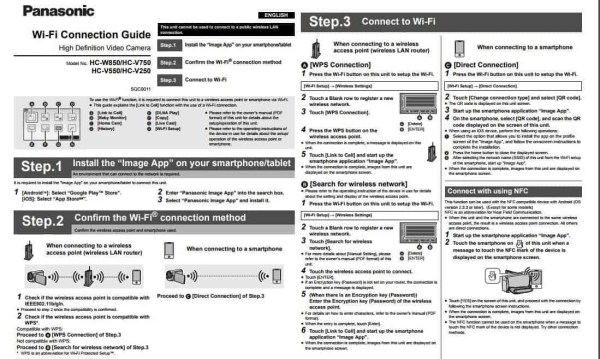 PANASONIC WIFI CONNECTION GUIDE