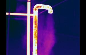 Infrared image of steam release on condensate line - Infrared Imaging Services LLC