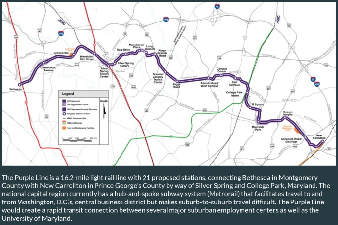 The Purple Line is a 16.2-mile light rail line with 21 proposed stations, connecting Bethesda in Montgomery County with New Carrollton in Prince George's County by way of Silver Spring and College Park, Maryland.