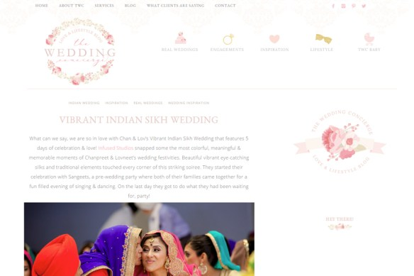 Featured Indian Wedding on The Wedding Concierge