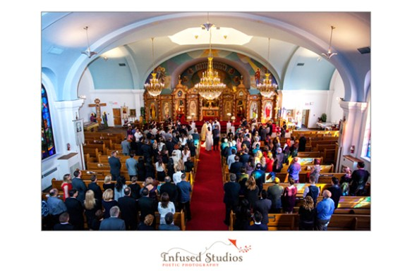 Church congregation for wedding
