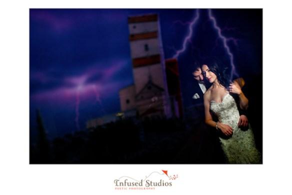 Lightening strikes wedding portrait