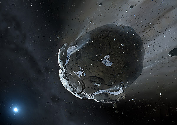 Artist's impression of a rocky and water-rich asteroid being torn apart by the strong gravity of the white dwarf star. Similar objects in the Solar System likely delivered the bulk of water on Earth and represent the building blocks of the terrestrial planets. Image copyright Mark A. Garlick, http://space-art.co.uk, University of Warwick  [ JPEG ].