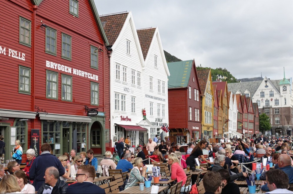 Old wooden buildings by the Bergen harbour, now shops and restaurants.