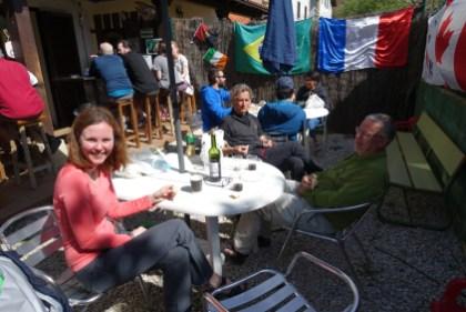 Drinks with fellow pilgrims