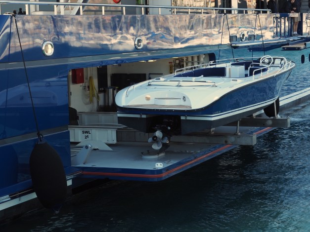 How you store a runabout on your yacht. Cannes.