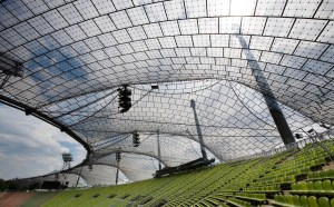 Frei Otto Tensed structures for the Munich '72 Olympic Games. Olympic Stadium and park. Munich, Germany